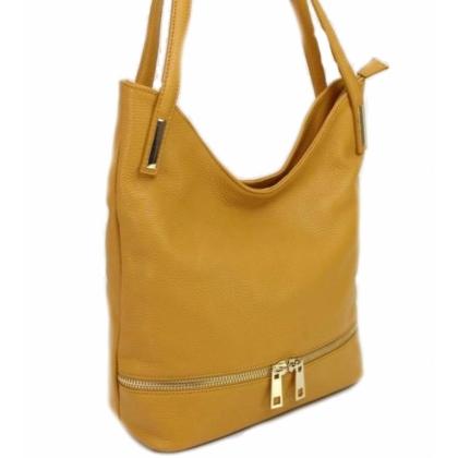 Жълта кожена чанта за рамо,1075-5