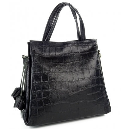 Стилна, дамска кожена чанта в черно 1483-2