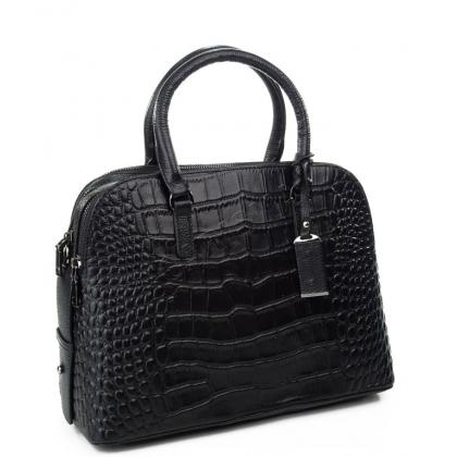 Дамска кожена чанта тип шагрен в черно 1822-2