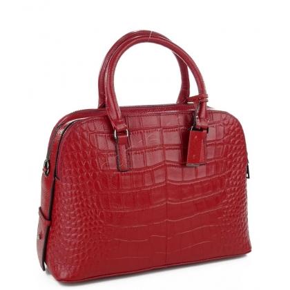 Кожена чанта тип шагрен в тъмно червен цвят 1822-3