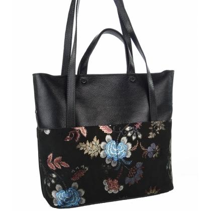 Черна кожена чанта Цветя