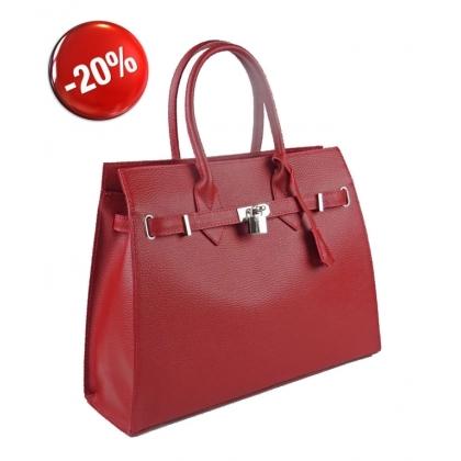 Дамска чанта от естествена кожа в червено 3521