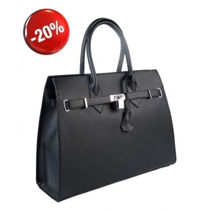 Черна кожена чанта 3521-3