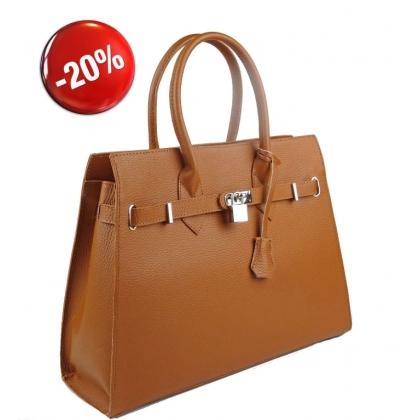Елегантна кожена чанта коняк