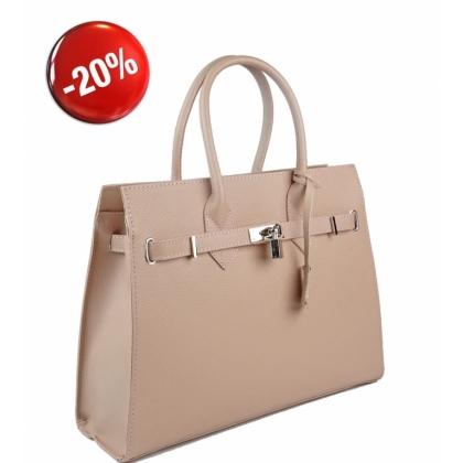 Елегантна кожена чанта, Пудра 3521-2