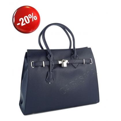 Тъмносиня чанта с декоративно катинарче 3521-6