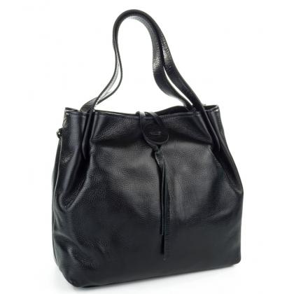 Черна кожена чанта, Копче, 7655-2