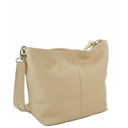Дамска чанта с дълга дръжка от естествена кожа, Пудра, 1216L