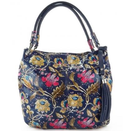 Дамска чанта от естествена кожа с флорални мотиви 166E-1