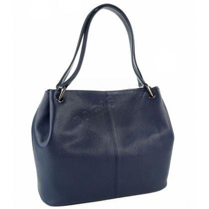 Кожена тъмнсоиня дамска чанта в син цвят 166E-2