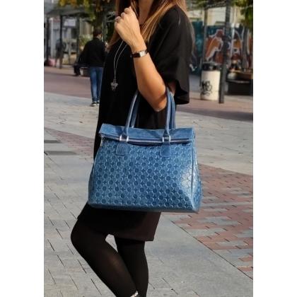 Дамска чанта от естествена кожа в син цвят 1177L-1