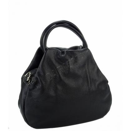 Тумбеста кожена чанта в черно 7876I