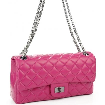 Кожена чанта в розова на топ бранд
