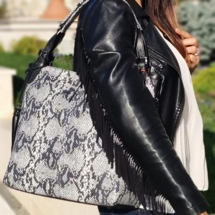 Елегантна кожена чанта със змийска шарка 1243-8