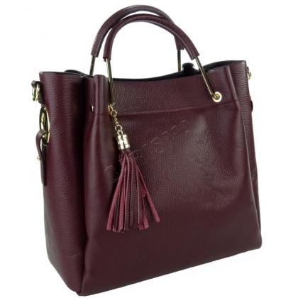 Дамска чанта от естествена кожа в бордо L1153-8