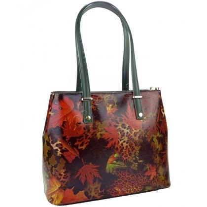 Дамска чанта от естествена кожа с есенни листа 11543-8