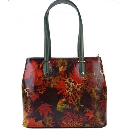 Чанта от естествена кожа с флорална щампа