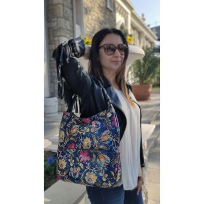 Дамска чанта с флорални мотиви 3892T-1