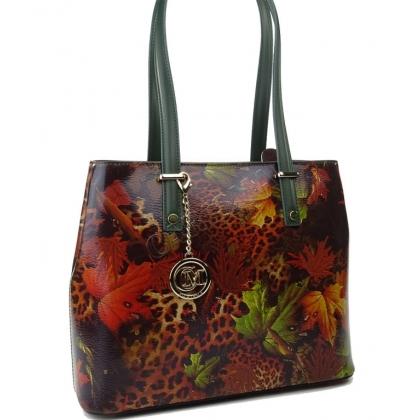 Дамска чанта от естествена кожа с есенни листа L1154-8