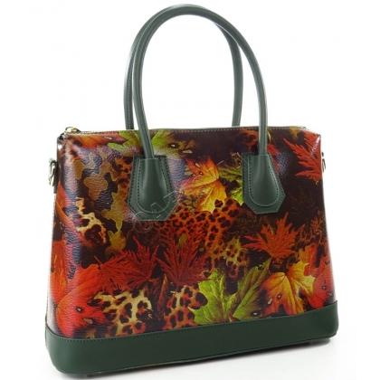 Кожена дамска чанта със стилна щампа - листа, L1155-3