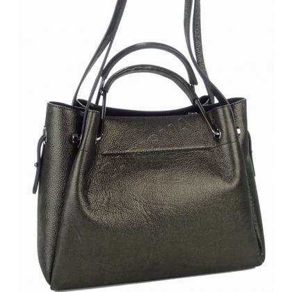 Дамска чанта от матирана естествена кожа в черно T2821-1