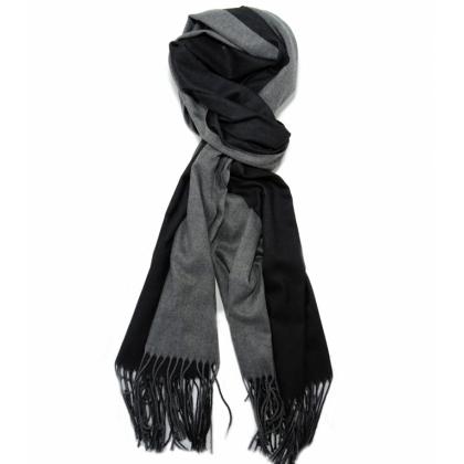 Двулицев мъжки шал в черно и сиво, ТТТ1