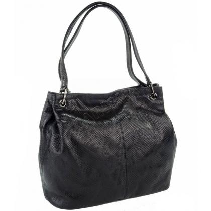 Кожена дамска чанта с ефектен принт
