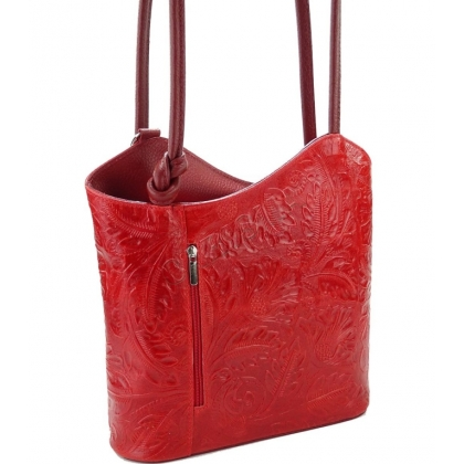 Кожена чанта-раница с релефна щампа