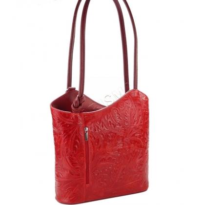 Дамска чанта-раница от естествена кожа с щампа в червено L100118-3