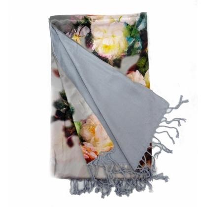 Сив дамски шал, Копринен, 30-3
