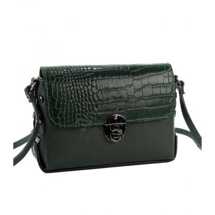 Малка дамска чанта от естествена кожа в маслено зелен цвят 135013-3