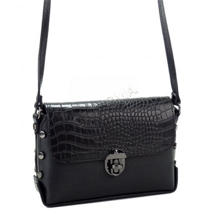 Малка дамска чанта от естествена кожа в черен цвят L13501-1
