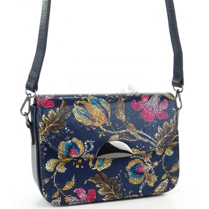 Малка дамска кожена чанта на цветя