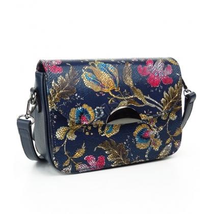 Малка дамска чанта от естествена кожа на цветя в син цвят T2343