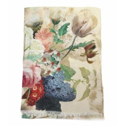 Квадратен дамски шал, Бежов, Цветя, 44