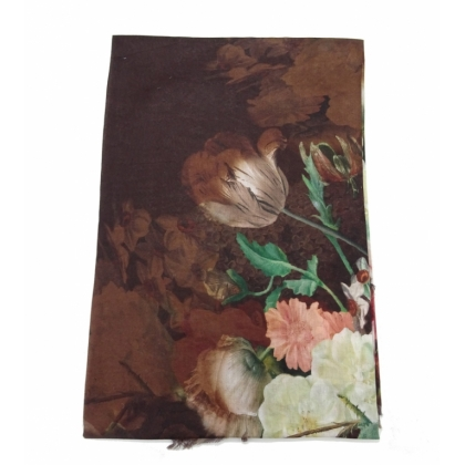 Кафяв памучен шал, Цветя, 44-1