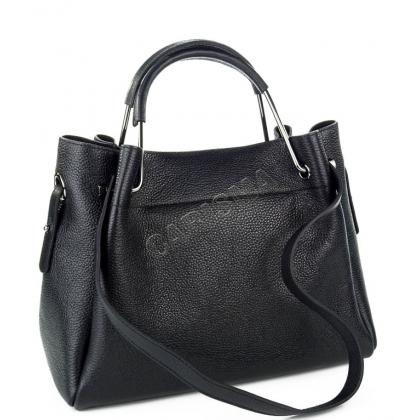 Дамска чанта от естествена кожа в черен цвят T2821-2