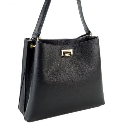 Дамска кожена чанта в черно L1820