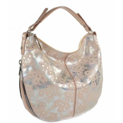 Модерна кожена чанта, Сребърни цветя, 999-3