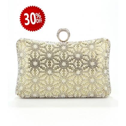 Абитуриентска златна чанта от сатен с камъни, 005V-2
