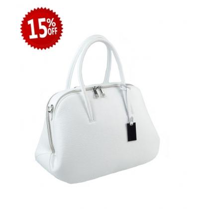 Дамска чанта от естествена кожа в бяло 1026