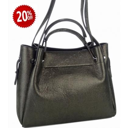 Дамска чанта от матирана естествена кожа в черно 2821-1