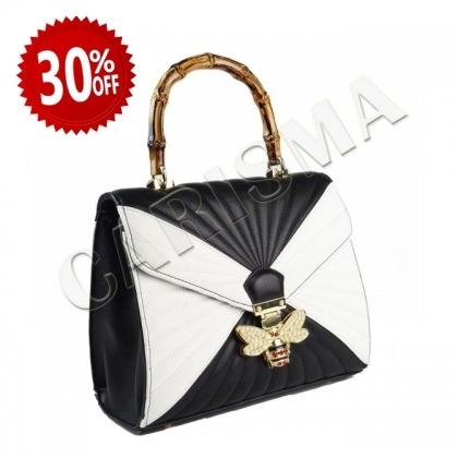 Дамска чанта в бяло и черно, 3110-1