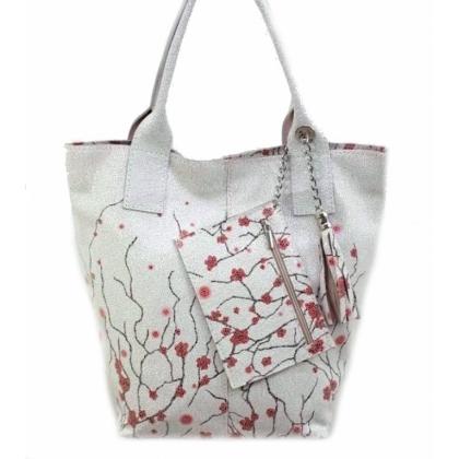 Дамска кожена чанта, Бяла, Цветя, 16663