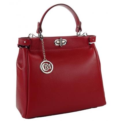 Червена кожена чанта