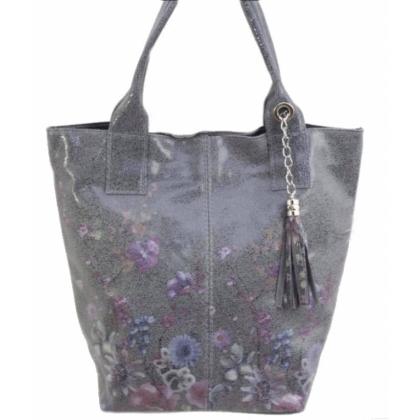 Красива дамска чанта, Сива, Цветя, 16663-2