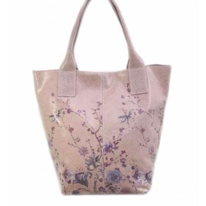 Дамска кожена торба, Пудра, Цветя, 4576-9