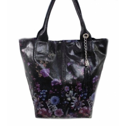 Чанта тип торба, Черна, На цветя, 4576-10