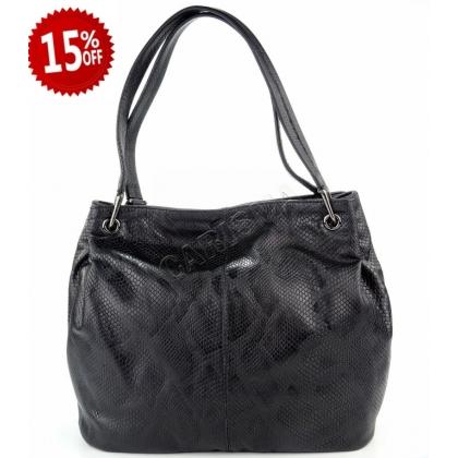 Дамска кожена чанта с змийски принт, E166