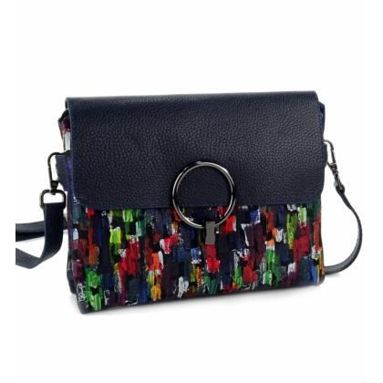 Дамска чанта от естествена кожа за през рамо, Тъмносиня, 781